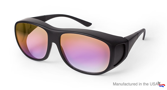 Dielectric coated laser safety glasses