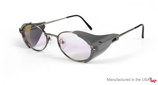 spectacle style laser safety glasses with metal frame and side shields pn100 40